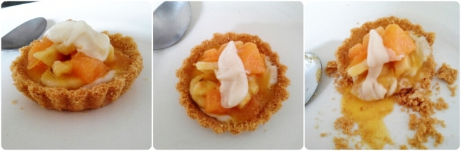 Sunday cooking : Ginger biscuit tartlet filled with coconut,white chocolate and vanilla ganache and topped with fruits stewed in orange juice!